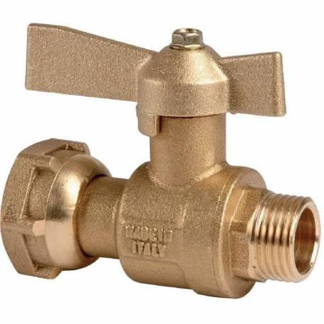 robinet compteur d'eau droit MF à boisseau sphérique avant ou après compteur