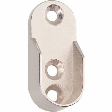 support tube ovale de penderie acier chromé X 2