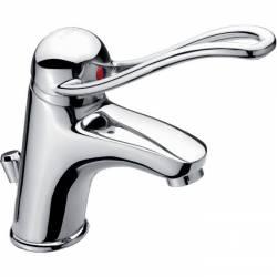 mitigeur PMR lavabo poignée creuse ouverture au coude avec tirette pour vidage