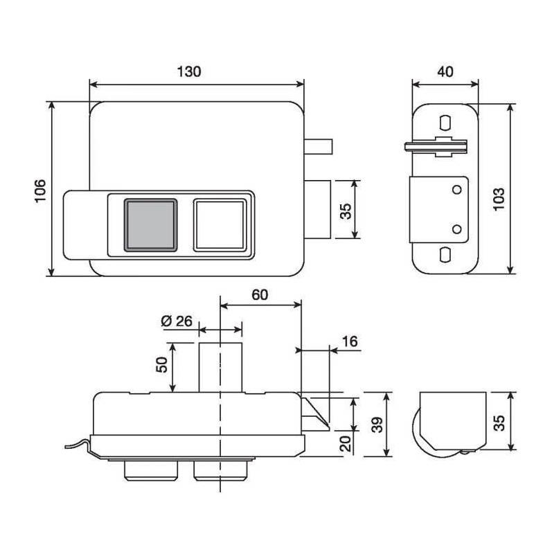 serrure lectrique de porte interieur axe 60 mm mod le