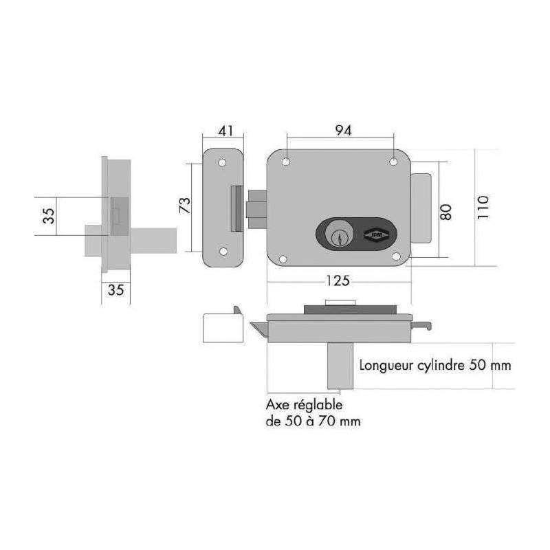 serrure lectrique de porte interieur exterieur axe 50 70. Black Bedroom Furniture Sets. Home Design Ideas