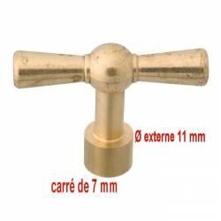 clé à carré pour tête de robinet avec cache-entrée  7mm