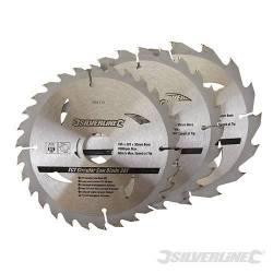 lot de 3 lames carbure pour  scie circulaire Ø 165 mm