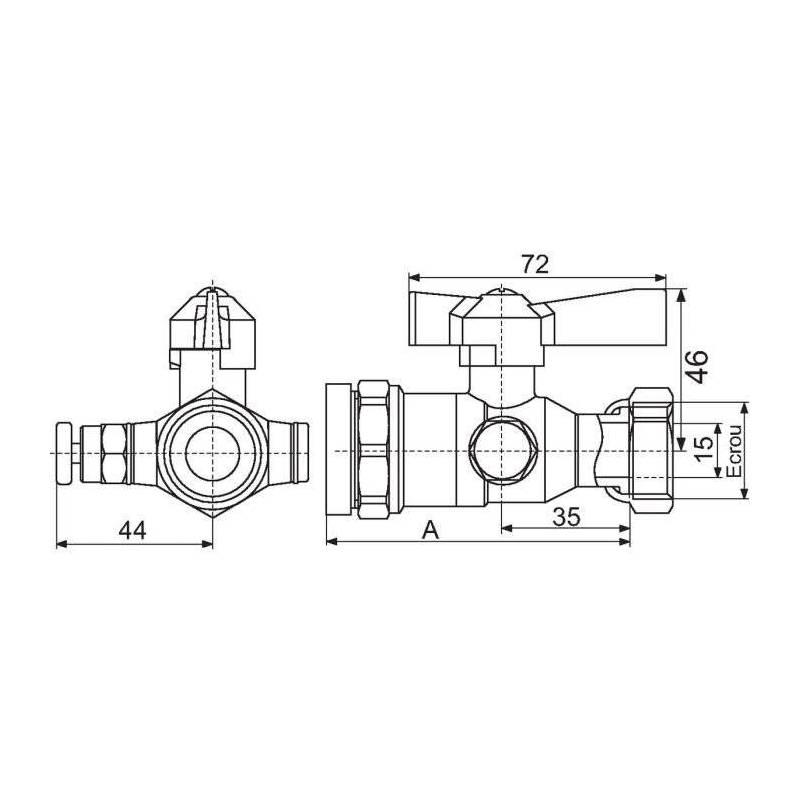 Robinet d 39 arret apr s compteur d 39 eau purge pour tube for Robinet purge chauffe eau