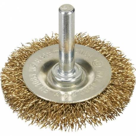 Brosse circulaire abrasive pour métaux sur tige pour perceuse