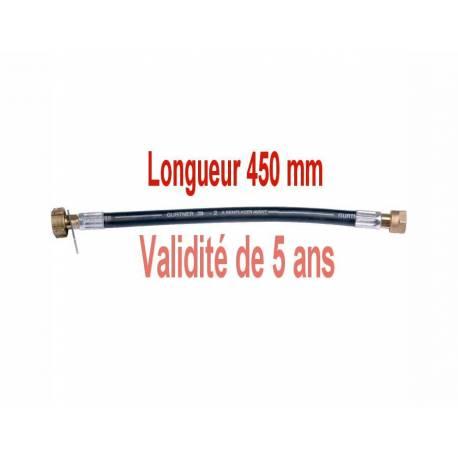 Lyre souple gaz butane propane longueur 450mm femelle 20 x 150 - écrou bouteille pour gaz butane ou propane  NF - M 88768