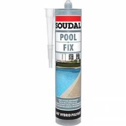 Mastic Pool Fix de marque SOUDAL 290 ml bleu clair transparent