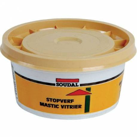 Mastic de vitrier naturel à base d'huile de lin marque SOUDAL pot de 500 g